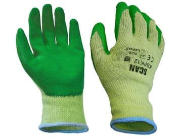 Knitshell Latex Palm Gloves (Green) - L (Size 9)